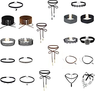 mingjun girocollo collana set pizzo Pelle Tattoo Choker Gothic elastico collana (22PCS)