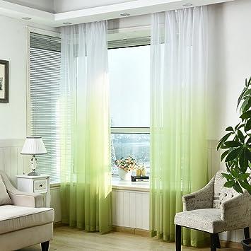 amazon.de: souarts farbverlauf transparent voilevorhang gardine ... - Vorhange Wohnzimmer Grun