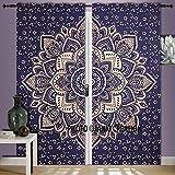Juego de cortinas de mandala con diseño de flor dorada azul para colgar en la pared,...