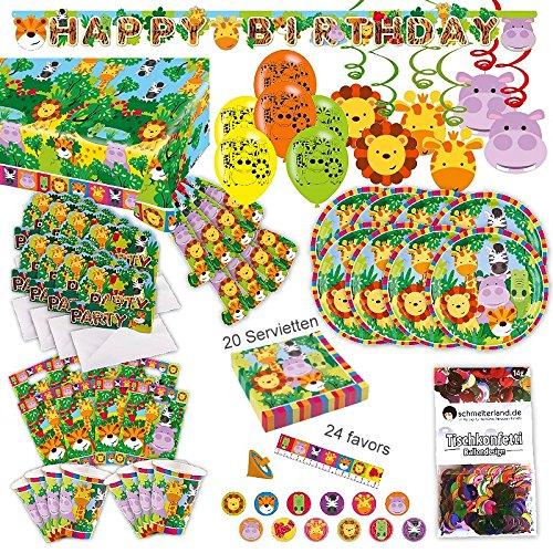 Dschungel Tiere Kleinkind Party Set XL 107-teilig für 8 Gäste Safari Design Deko Partypaket (Safari-geburtstags-party Einladungen)