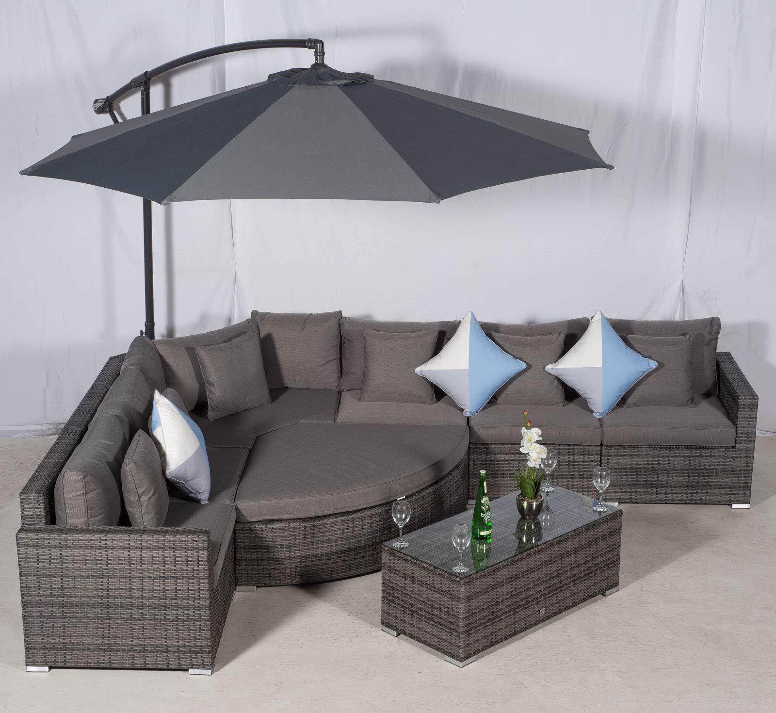 Terrific Giardino Santorini 6 Seat Grey Rattan Corner Sofa Set Pabps2019 Chair Design Images Pabps2019Com