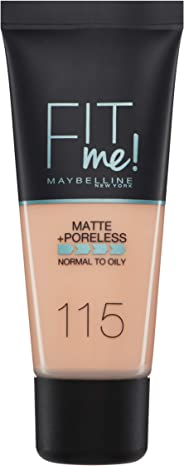 Maybelline New York Fit Me Matte + Poreless Face Foundation - 30 ml, Ivory 115