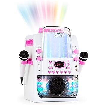 Auna Kara Liquida BT • Impianto Karaoke con Effetti Luce e Acqua • Fontana con Show Luminoso LED • Bluetooth • CD • USB MP3 • Uscita Video • 2 Microfoni • Altoparlante Integrato • Bianco/Rosa