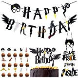 Wizard Inspired Cupcake Toppers BETOY 18PCS Harry Potter Inspired Cupcake Toppers cumpleaños Decoracion de Fiesta Mago Estand