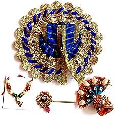 krishnagallery Cotton Laddu Gopal Dress Combo Set (Blue, b263)