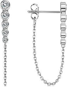 Adramata Orecchini a barra in argento Sterling 925 con catena pavimentata con zirconi cubici placcati in oro 18 K, ipoallergenici, da donna