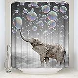 JOOCAR Design Shower Curtain, Animal Elephant Blow Bubbles Dream Colorful Print, Waterproof Cloth Fabric Bathroom Decor Set w