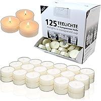 Candelo Lot de 125 bougies chauffe-plat d'ambiance non parfumées – 1,8 x 3,5 cm par bougie chauffe-plat – Bougies…