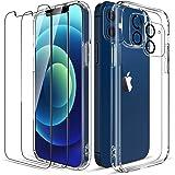 LK Compatible con iPhone 12 5G Cristal Templado Funda 6.1 Pulgadas, 2 Pack HD Cristal Protector de Pantalla y 2 Vidrio Templa
