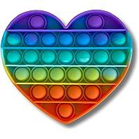 Cflagrant® Popit Fidjetoys Jeu Anti Stress Multicolore pour Enfant Filles et Garçons et pour Adultes (Coeur Arc-en-Ciel)