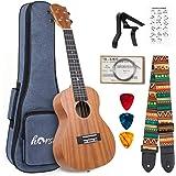 Ukulélé en acajou pour débutants professionnels avec des cordes de capo à bandoulière (23 inch)