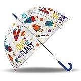 Kids KL10257 Planets Paraguas Campana Transparente, Única, Multicolor