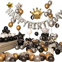 Ponmoo Decoration Anniversaire Ballon Noir et Or pour Gargon Femme Homme 99pcs Ballons Anniversaire Happy Birthday Party…