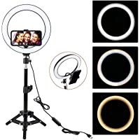 18 Inch Selfie LED Ring Light with Tripod Stand &Cell Phone Holder & 3 Light Mode, Dimmable Desktop LED Makeup Ring…