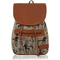 KLEIO Women's Casual Spacious Backpack Hand Bag - Beige