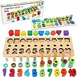 Afufu Giochi Bambini 3+ Anni, Giocattoli Educativi Montessori da Puzzle in Legno, Anelli impilabili per Imparare la Matematic