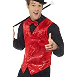 """Smiffys 46960L Sequin Waistcoat, Red, L - Size 42""""-44"""""""
