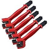 Coolty 5pcs Moto Brosse de Nettoyage, Moto Vélo Chaîne Pédalier Brush Cleaner Outil (Rouge)