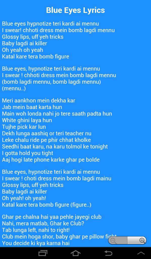 Blue eyes lyrics yo yo honey singh.