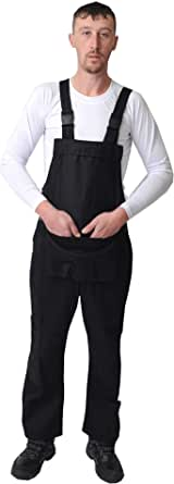 Road Master Bib and Brace Dungaree Overalls Painters Suit For Decorators Builders, White, Black, Blue, Red and Navy Colours