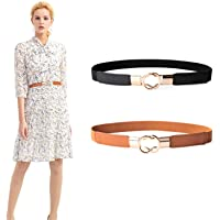 Women's Skinny Elastic Waist Belt,JasGood Stretch Retro Waistband for Dress 2 Pack By JasGood