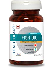 HealthKart Fish oil (1000 Omega 3, with 180 mg EPA & 120 mg DHA) for brain, heart and eye health, 60 softgels