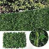 Justoyou Efeu-Hecke, künstlicher Sichtschutz-Zaun, Buchsbaum-Panel für Wandgarten, Dekoration für Innen- und Außenbereich, 40 x 60 cm