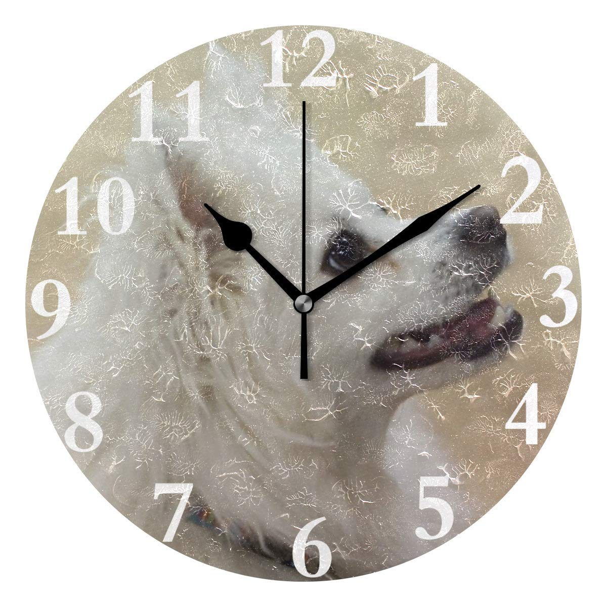 Oh Sweety Wall Clock American Eskimo Dog Custom Silent Non Ticking Decorative Round Digital Clocks for Home/Office…