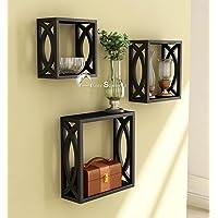 Home Sparkle MDF Wall Shelf | Cube Design Wall Mounted Shelves for Living Room - Set of 3 (Black)
