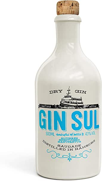 Gin Sul (1x0,5l) Original Dry Gin destilliert und abgefüllt in Hamburg, hochwertige weiße Tonflasche, zarte Aromen von wildem Wacholder und Zistrosen aus Portugal