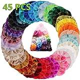 45 Colores Velvet Elástico Hair Scrunchies, Lazos Elásticos De Banda Pelo Stretchy Multicolor De Terciopelo Accesorios Para E