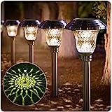 BEAU JARDIN Lot de 8 extérieur lampes solaires de jardin acier inoxydable eclairage solaire lumière blanche chaude et impermé