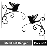 Sharpex Hanging Plants Bracket, Bird Shape Wall Planter Hook Flower Pot Bird Feeder Wind Chime Lanterns Hanger Patio Lawn Garden for Shelf Shelves Fence Screw Mount Against Door Arm Hardware - Black