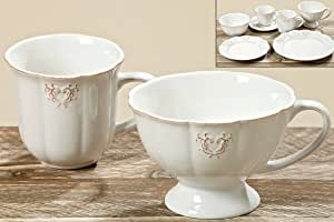Kaffeetasse 400ml weiß Grace H10cm Steinzeug Nostalgie