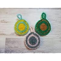 Eponge tawashi durable, accessoire pour la vaisselle ou le corps, lavable en machine, fait main au crochet, coloris au…