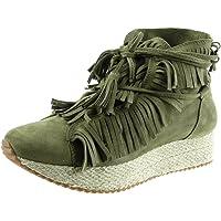 Angkorly - Chaussure Mode Baskets Semelle Basket Femme Frange lanière Corde Talon compensé 3.5 CM - Intérieur Fourrée