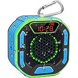 BassPal Draagbare Bluetooth douche-luidspreker, IPX7 waterdichte luidspreker met luid geluid, led-display, karabijnhaak, lich