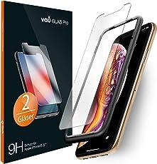 vau iPhone XS Max Panzerglas Glas Pro Schutzfolie 2 x Panzerglasfolie Vorne + Installationswerkzeug Displayschutzfolie Front (für Apple iPhone 10s Plus 6.5 OLED 2018)
