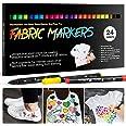 24 Textilstifte Waschmaschinenfest, APOGO Textilmarker Stoffmalstifte Waschfest, Permanent Stoffmalfarben Stifte für T Shirt,