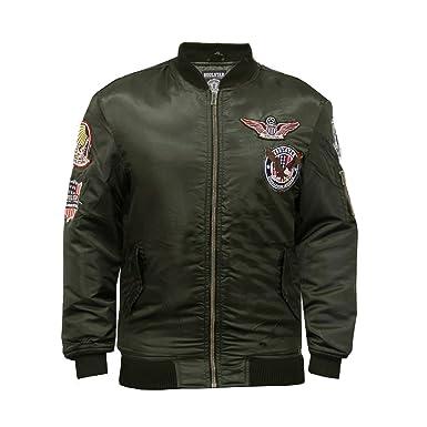 Soulstar Mens MJ Koto Military Style MA1 Bomber Jacket: Amazon.co ...