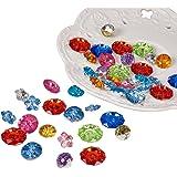 PandaHall 144PCS Bottoni Cristallo Bottoni Decorativi Bottoni Colorati Acrilico Sfaccettato, Forma Misto, Colore Misto, 12-18