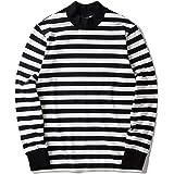 Mock Neck Striped Long Sleeve T Shirt Men