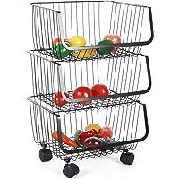 Paniers à Fruits et Légumes Suspendus à 3 Niveaux, Boulettes aux Fruits sur Roues Panier de Fruits à Roulettes Empilable…