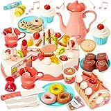 HERSITY 82 Pièces Gâteau d'anniversaire Jouet À Couper avec Lumières et Sons Aliment Jeux Service à Thé Cadeaux pour Enfants