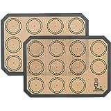 2 Pièces Tapis de Cuisson en Silicone, Tapis de Four en Silicone pour Le Biscuit et Macaron, sans BPA Anti-Adhérent Feuille d