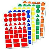 5 Couleurs - Gommettes Formes Étiquettes (Cercle, Triangle, Carré, Rectangle) - 900 Étiquettes
