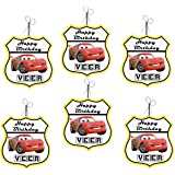 WoW Party Studio Personalized Disney McQueen Car Theme Birthday Ceiling Hangings / Danglers with Birthday Boy/Girl Name - 12P