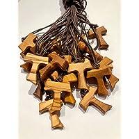 Tau in legno di ulivo, croce di San Francesco d'Assisi 3 centimetri 20 pezzi con i 3 nodi Francescani
