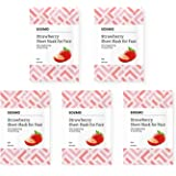 Amazon Brand -Solimo Face Sheet Mask, Strawberry, Pack of 5