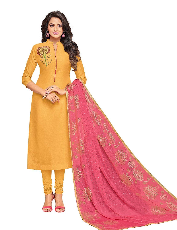 1fc0e19133 Shree Ganesh Retail Womens Chanderi Cotton With Embroidery Churidar ...